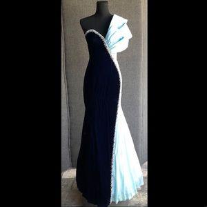 Sheri Hill Velvet Satin Gown